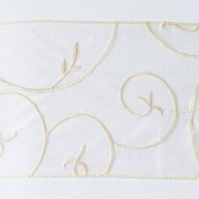 5pc x Chair Sash Embroider - Champagne