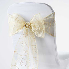 5 PCS | 7 Inch x 108 Inch | Champagne Embroidered Organza Chair Sashes | TableclothsFactory