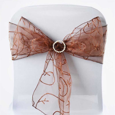 5 PCS | 7 Inch x 108 Inch | Chocolate Embroidered Organza Chair Sashes | TableclothsFactory