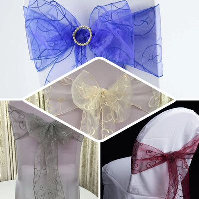 "5 PCS | 7""x108"" Chocolate Embroidered Organza Chair Sashes"