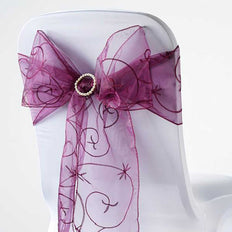 5 PCS | 7 Inch x 108 Inch | Eggplant Embroidered Organza Chair Sashes | TableclothsFactory