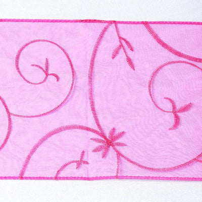 5pc x Chair Sash Embroider - Fushia
