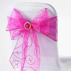 5 PCS | 7 Inch x108 Inch | Fushia Embroidered Organza Chair Sashes | TableclothsFactory