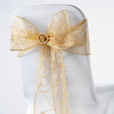 5 PCS | 7 Inch x108 Inch | Gold Embroidered Organza Chair Sashes | TableclothsFactory