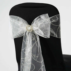 5 PCS | 7 Inch x108 Inch | Ivory Embroidered Organza Chair Sashes | TableclothsFactory