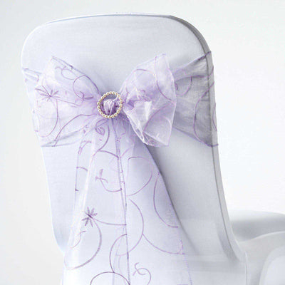 5 PCS | 7 Inch x108 Inch | Lavender  Embroidered Organza Chair Sashes | TableclothsFactory