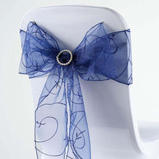 5 PCS | 7 Inch x108 Inch | Navy Blue Embroidered Organza Chair Sashes | TableclothsFactory