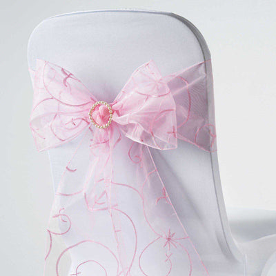 5 PCS | 7 Inch x108 Inch | Pink Embroidered Organza Chair Sashes | TableclothsFactory