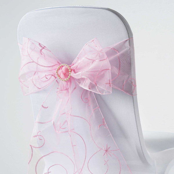 "5 PCS | 7""x108"" Pink Embroidered Organza Chair Sashes"