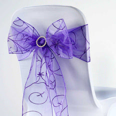 5 PCS | 7 Inch x108 Inch | Purple Embroidered Organza Chair Sashes | TableclothsFactory