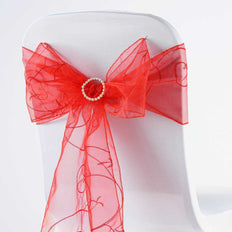 5 PCS | 7 Inch x108 Inch | Red Embroidered Organza Chair Sashes | TableclothsFactory