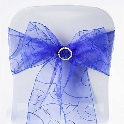 5 PCS | 7 Inch x108 Inch | Royal Blue Embroidered Organza Chair Sashes | TableclothsFactory
