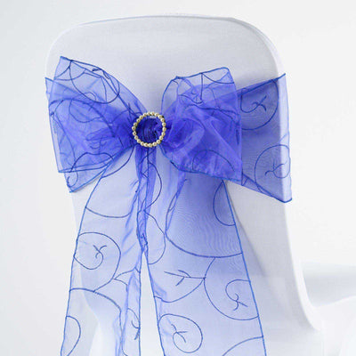 "5 PCS | 7""x108"" Royal Blue Embroidered Chair Sashes"