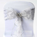 5 PCS | 7 Inch x108 Inch | Silver Embroidered Organza Chair Sashes | TableclothsFactory