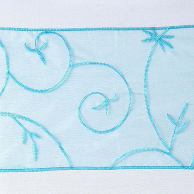 5pc x Chair Sash Embroider - Turquoise