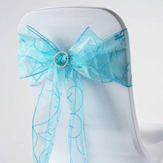 5 PCS | 7 Inch x108 Inch | Turquoise Embroidered Organza Chair Sashes | TableclothsFactory