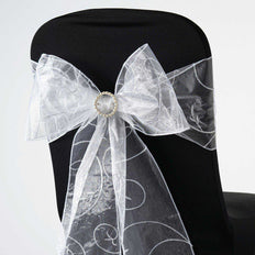 5 PCS | 7 Inch x108 Inch | White Embroidered Organza Chair Sashes | TableclothsFactory