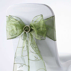 5 PCS | 7 Inch x108 Inch | Moss Green Embroidered Organza Chair Sashes | TableclothsFactory