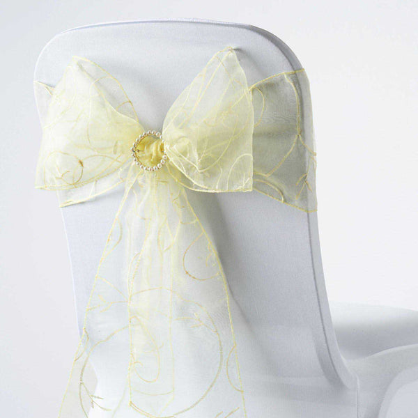 "5 PCS | 7""x108"" Yellow Embroidered Organza Chair Sashes"