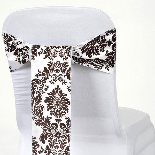 "5 Pack | 6""x108"" Taffeta Damask Flocking Chair Sashes - Chocolate 