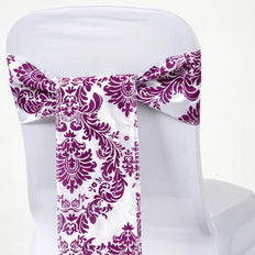 "5 Pack | 6""x108"" Flocking Taffeta Chair Sashes - Eggplant 
