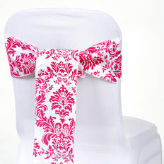 "5 Pack | 6""x108"" Flocking Taffeta Chair Sashes - Fushia 