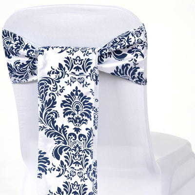 5pc x Chair Sash Flocking - White / Navy Blue (CLOSEOUT PRICING / NO RETURNS)