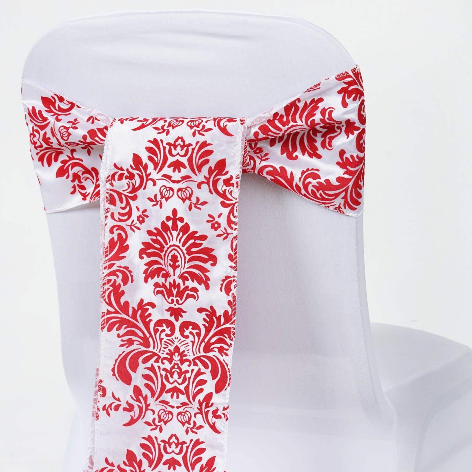 5pcs Red Taffeta Flocking Chair Sashes Tie Bows Catering Wedding ...