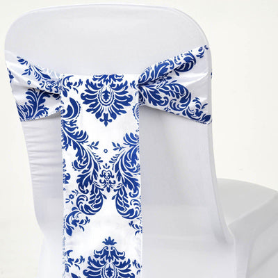 5pc x Chair Sash Flocking - White / Royal Blue