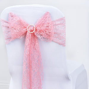 "5 PCS Rose Quartz LACE Chair Sashes Tie Bows Catering Wedding Party Decorations - 6""x108"""