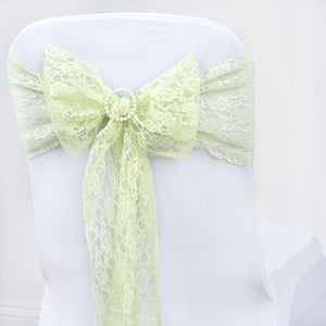 "5 PCS Tea Green LACE Chair Sashes Tie Bows Catering Wedding Party Decorations - 6""x108"""