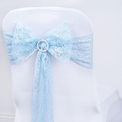 "5 PCS Serenity Blue LACE Chair Sashes Tie Bows Catering Wedding Party Decorations - 6""x108"""