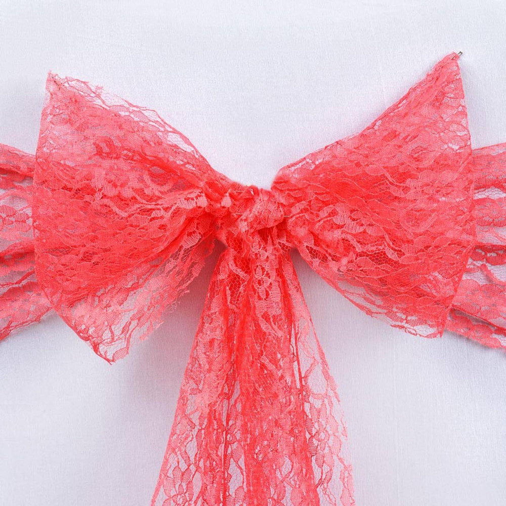 5 PCS Coral LACE Chair Sashes Tie Bows Catering Wedding Party ...