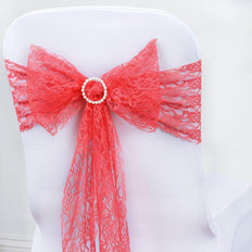 5 Pcs | 6 inch x108 inch Coral Lace Chair Sashes