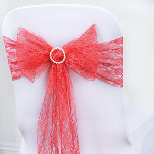 "5 PCS Coral LACE Chair Sashes Tie Bows Catering Wedding Party Decorations - 6""x108"""