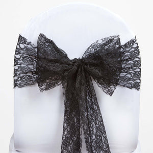 5 PCS Black LACE Chair Sashes Tie Bows Catering Wedding Party Decorations - 6 inch x 108 inch