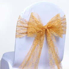 5 PCS | 6 inch x 108 inch Gold Lace Chair Sash
