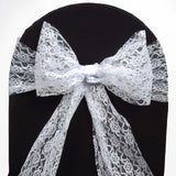 "5 PCS Ivory LACE Chair Sashes Tie Bows Catering Wedding Party Decorations - 6""x108"""