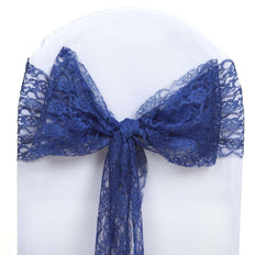 5 PCS | 6 inch x 108 inch Navy Blue Lace Chair Sash