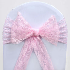 5 PCS | 6 inch x 108 inch Pink Lace Chair Sash