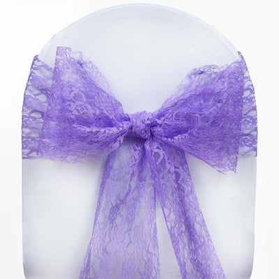 "5 PCS Purple LACE Chair Sashes Tie Bows Catering Wedding Party Decorations - 6""x108"""