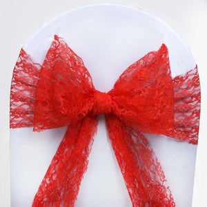 "5 PCS Red LACE Chair Sashes Tie Bows Catering Wedding Party Decorations - 6""x108"""