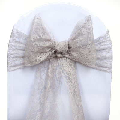 5 PCS | 6 inch x 108 inch Silver Lace Chair Sash