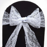"5 PCS White LACE Chair Sashes Tie Bows Catering Wedding Party Decorations - 6""x108"""