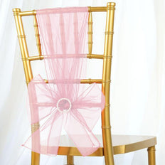 5 PCS | Rose Quartz Sheer Organza Chair Sashes - Clearance SALE