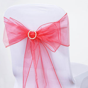 5pc x Chair Sash Organza - Coral