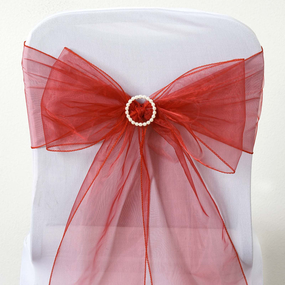 5 pcs wholesale wine sheer organza chair sashes tie bows catering