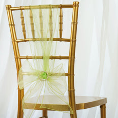 5pc x Chair Sash Organza - Apple Green