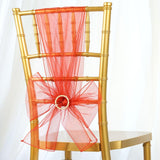 5pc x Chair Sash Organza - Burnt Orange