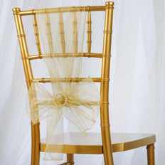 5pc x Chair Sash Organza - Champagne